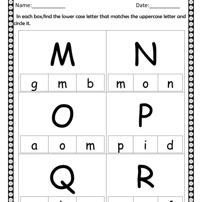 Circle the lowercase M to R