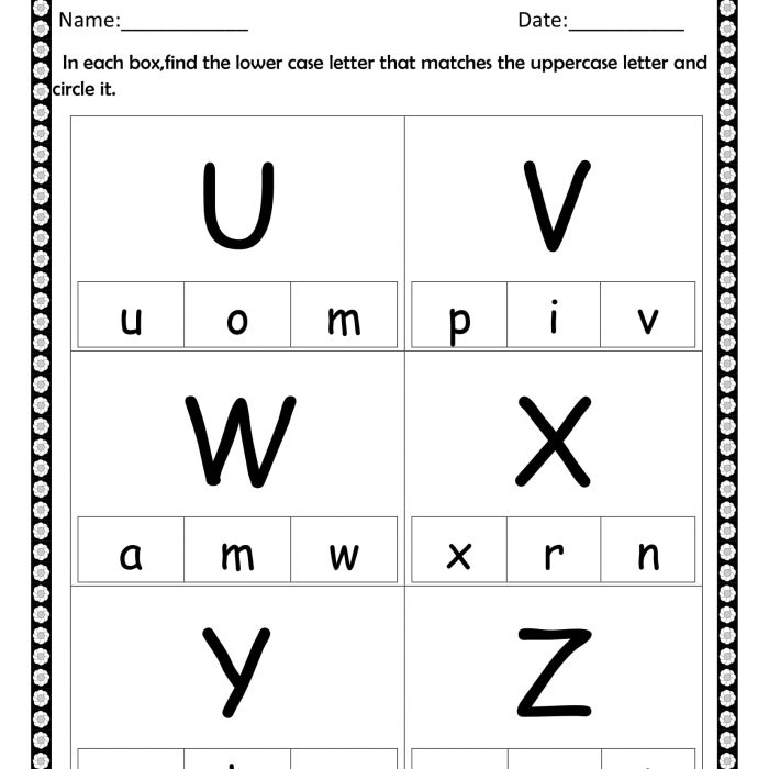 Circle the lowercase U to Z