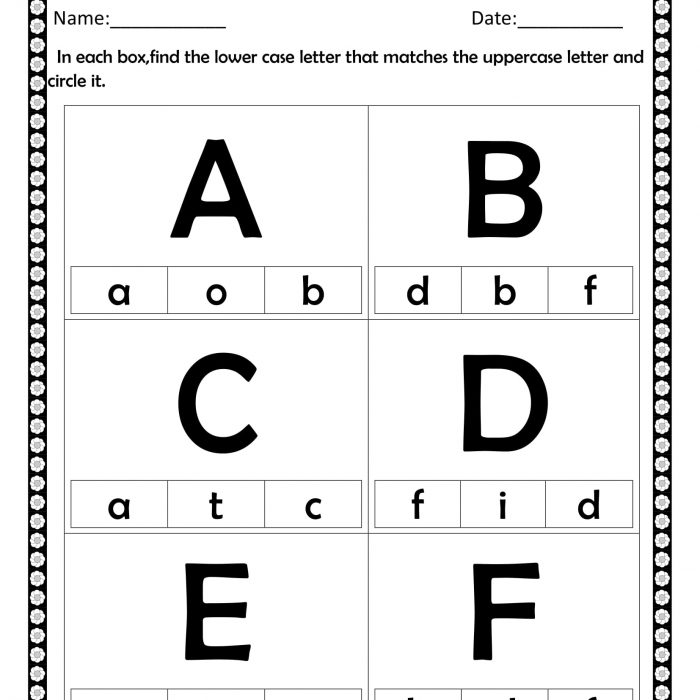 Circle the lowercase a to f