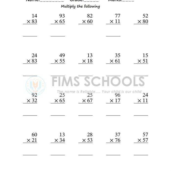 Multiplication 2-Digit by 2-Digit Numbers Pack 01